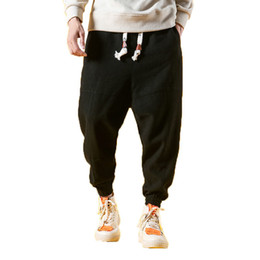d20ce1719 Summer Linen Harem Hip Hop Drop Pants Men Joggers Male Pantalones Hombre  Retro Chinese Style Thin Sweatpants 5xl Q190524