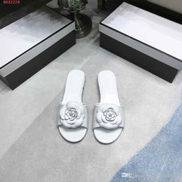 B Flat Australia - Summer new camellia decorative leather flower slippers, round comfortable non-slip Leather flat bottom outsole female slippers