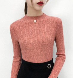 28088e81ff3f Spring Autumn Winter New Women Fashion Sweater Knitwear Long sleeve Solid  Warm Bodycon pullover Sweater Black White Pink Blue
