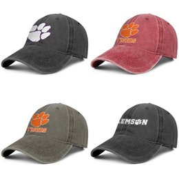 red black tiger print Australia - Clemson Tigers football logo Marble Print black mens and womens baseball denim cap design fitted custom sports vintage team unique hats