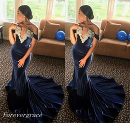 $enCountryForm.capitalKeyWord Australia - 2019 Velvet African Evening Dress Mermaid V Neck Appliques Formal Holiday Wear Prom Party Gown Custom Made Plus Size