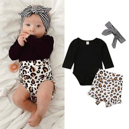 $enCountryForm.capitalKeyWord Australia - 3Pcs set Baby Girl Clothes Casual Leopard print Baby Romper+Short Pants+Headband Infant Clothing Outfit Summer Newborn Clothes