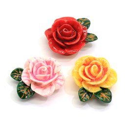 Wholesale beads for clothing decoration resale online - Hot Sell Colorful Chinese Flower Rose Resin Bead Stickers for Jewelry Bag Clothes Decoration Findings