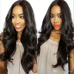 Beautiful Black Wave Hair Australia - Beautiful African American long loose wave wig brazilian hair Simulation Human Hair long loose Wave Wig middle part
