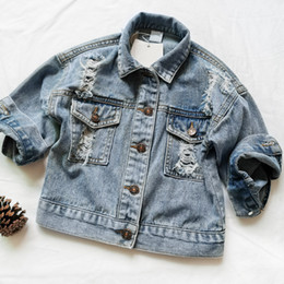 child jeans jacket Canada - Baby Girls Denim Jackets For Boys Jackets And Coats Children Jacket Spring Autumn Eyes Embroidery Jeans Coat Children Outerwear