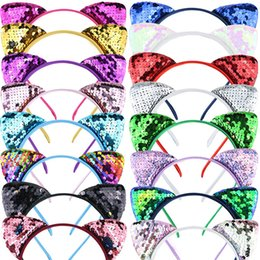 Cats Hair Clips Australia - New Designs Cute Cat Ears Sequins hair bows hair clips 16 colors hair accessories for women and girls designer headband SS256