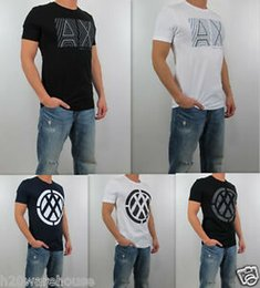 Blue Tee Logo Australia - NWT AX Brand Exchange Men Slim Fit Negative Space Double Logo pima Tee T Shirt