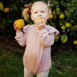 Cheap spring summer Clothes online shopping - Cute Ins Baby girl Jumpsuit Lantern Rompers clothing Flutter sleeve Long sleeve Solid Pink Spring Summer cotton Cheap