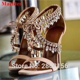 Discount jewel heels - Latest Crystal Suede Sandals Jewel Embellished Gladiator Sandals Sexy High Heels Pumps Lace Up Open Toe Wedding Party Sh