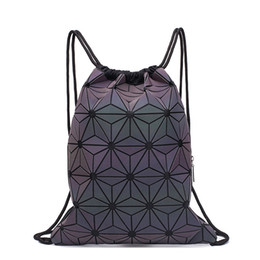 school drawstring bags for girls UK - New Women Drawstring Backpacks Holographic Bagpack Female Luminous Geometric Backpack For Teenage Girls School Bag Beach Bao Bag