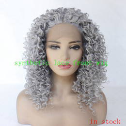 Chinese  12-26 inches stock Short Kinky Curly Synthetic Lace Front Wig for Black Girl None Heat Resistant Natural manufacturers
