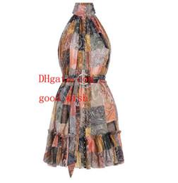 $enCountryForm.capitalKeyWord UK - 2019 brand summer dresses women jumpsuits rompers dress New single row open button retro print hanging neck silk vest dress women clothes