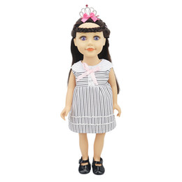 gothic toys Australia - One Piece Dress Round Neck Collar Black White Stripes for 18 inch Doll American Girl Our Generation