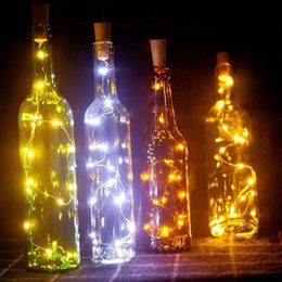 string light garland wholesale NZ - 2M 20 LED Wine Bottle Lights Cork Battery Built In Garland DIY Christmas String Lights For Party Halloween Wedding Decoration
