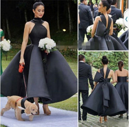 $enCountryForm.capitalKeyWord NZ - 2019 Fashion Ankle Length Black Prom Dresses Backless Big Bow A Line Short Party Gowns Evening Dress Custom Size