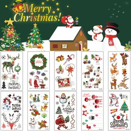 cute tattoos Canada - Merry Christmas 2020 New Gifts Tattoo Design Red Cute Cartoon Santa Snowman Tree Decal for Kids Temporary Body Art Tattoo Sticker Decoration