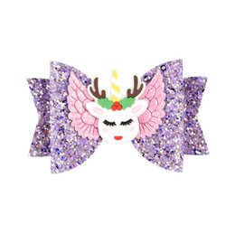 Baby Sequin Hair Clips Wholesale UK - INS Baby Girls Unicorn Hairpin 16style Sequins Glitter Hair Clips Cute Elk Rainbow Cosplay Barrettes Gretel Kids Bow Hair Accessories