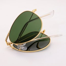 golden package UK - 3479 Pilot Folding Real Glass lens Sunglasses aviation women men hot rays sun glasses male female G15 lens UV400 with packages box