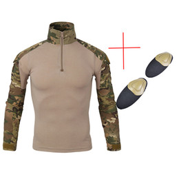 Discount camouflage tactical shirt - Multicam Army Combat Shirt Uniform Tactical Shirt with Elbow Pads Camouflage Hunting Clothes Ghillie Suit Top