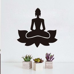 China 1 Pcs Creative DIY Popular Meditate Yoga Lotus Pose Wall Sticker Art Vinyl Home Decor Buddhism Black Printed Decals kids Room cheap popular room decor suppliers