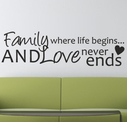 $enCountryForm.capitalKeyWord Australia - Family Where Life Begins And Love Never Ends Wall Quote Sticker Decal House Diy Decor Vinyl