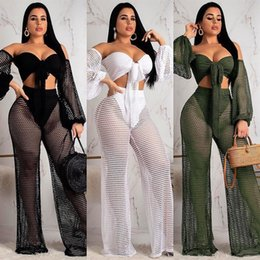 Auto Shoot Australia - Factory real shot Europe and the United States summer hollow wrapped chest lanterns sleeves wide leg pants two sets of beachwear womenin
