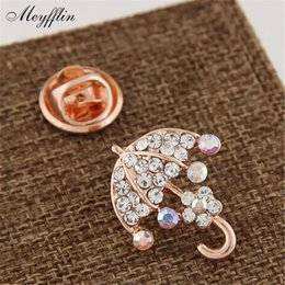 Gold hijab pins online shopping - Hijab Pins Fashion Gold Crystal Umbrella Brooches Jewelry Corsage Scarf Sweater Collar Pin Suit Brooches for Women