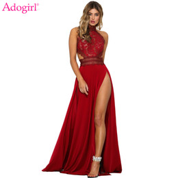 night club dress slits Australia - Adogirl Women Sexy Sheer Lace High Slit Maxi Evening Party Dresses Backless Summer Beach Dress Female Night Club Long Vestidos MX190725