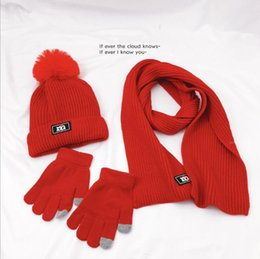 fallen hats Australia - Children's FALL Winter knitted Hats Scarf Gloves Set Warm Comfortable Ski Hat Solid Color Fashion Boy Girl Universal Pompom Caps