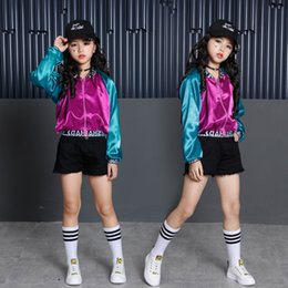 Hiphop Style Jacket Australia - Girls Stage Dance Costumes For Kids 3pcs Teenage Girls Hiphop Jacket Crop Shorts Sets Children Dance Wear