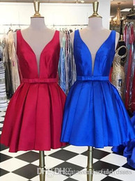 blue prom dresses white bow Australia - Cheap Hot Short Homecoming Dresses Red And Blue Satin keen-Length Ball Gown Sleeveless Prom dresses For Party