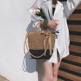 Plain Cotton Tote Australia - Women causal totes Cotton Knitting handbags female shopping bags Fashion beach bag lady shoulder bags with silk ribbons
