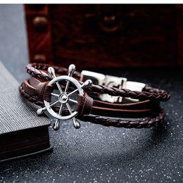 Pirate bracelets men online shopping - Men Vintage Wristband Boat Wheel Pirate Style Leather Rudder Bracelets Multilayer Woven Braided Bangles Nautical Bracelet Mens Jewelry M938F