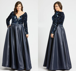 $enCountryForm.capitalKeyWord UK - Amazing Navy Blue Bling Sequins Plus size Special Occasion Prom Dresses V neck Long Sleeves Rhinestones Beaded Evening Formal Pageant Dress