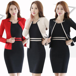long women working suits Canada - Hot Ladies Dress Suit for Work Full Sleeve Blazer+Sleeveless Dress 2 Pieces Set For Businesss Women ow0364