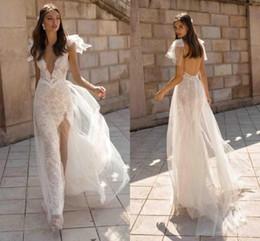 $enCountryForm.capitalKeyWord Australia - Sexy Deep V Neck Flare Short Sleeves Sheath Wedding Dresses Lace Sequins Bridal Gown High Split Backless Vestidos De Novia Bohemian AL2656