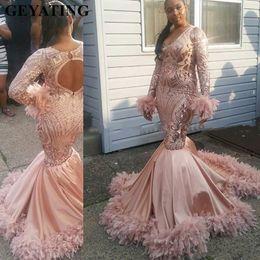 $enCountryForm.capitalKeyWord NZ - Sparkly Sequin Rose Gold Plus Size Mermaid African Prom Dresses Feathers Train Long Sleeves Black Girls Formal Evening Dresses Abendkleid