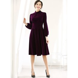 $enCountryForm.capitalKeyWord NZ - New Arrived Velvet Lantern Long Sleeves Fashion Dresses 2019 Year Chic Stand Neck Slim Ball Gown Spring Dress For Party
