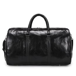 Mens Large Leather Travel Bags Australia - Leather Travel Bag Women Carry On Large Handbags Duffel Waterproof Travel Weekend Bags Overnight Mens Duffle Hand Luggage Bags