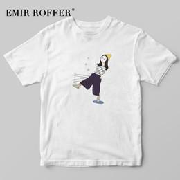 korean fashion tee women 2019 - EMIR ROFFER Ulzzang Korean Shirt Women Fashion Girl Print T-shirt Female Harajuku Kawaii T Shirt Summer Graphic Tees Top