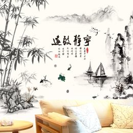 Boat Wall Stickers Australia - [SHIJUEHEZI] Black Color Bamboo Mountain Rivers Boats Wall Stickers Chinese Style Mural Decals for Living Room Office Decoration D19010902