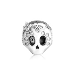 925 Sterling Charms Australia - 2019 Spring 925 Sterling Silver Jewelry Sparkling Skull Charm Beads Fits Pandora Bracelets Necklace For Women DIY Making