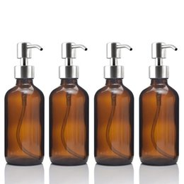 bottles for oils NZ - 4pcs 8 Oz Amber Glass Boston Round Bottle w  Stainless Steel Pump for Kitchen Bathroom Liquid Soaps Essential oils Lotions 250ml