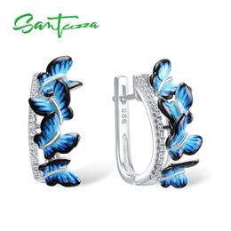 $enCountryForm.capitalKeyWord Australia - Santuzza Silver Earrings For Women 925 Sterling Silver Stud Butterfly Earrings Silver 925 Cubic Zirconia Brincos Jewelry Enamel J190630