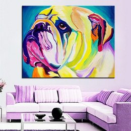 Pop Art Animals Australia - High Quality Handpainted & HD Print Modern Abstract Pop Animal Art Oil Painting bulldog On Canvas Home Decor Wall Art Frame Options A190