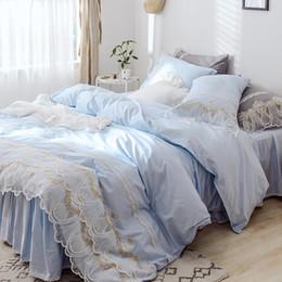 Girls Pink Bedding Sets Australia - Blue Princess Lace Bedding set King Queen Twin size Girls Bed set Solid Soft Bed sheet Duvet cover set Bed skirt home textile