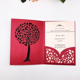 PurPle wedding invitations design online shopping - Hollow Tri folding Type Simple Wedding Invitation Card Exquisite Tree Lace Design Invitation Cards Party Engagements Supplies