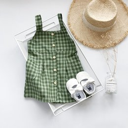 children skirt suspenders Australia - Gril Summer Designer Plaid Dress 2019 Brand Child Clothing Girls Casual Suspender Plaid Dress with Button Summer Luxury Fashion Skirts