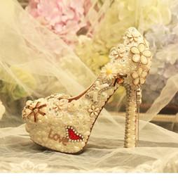 14cm Stiletto Shoes NZ - 10cm 12cm 14cm customized rhinestone flower genuine leather stiletto heel wedding shoes platform high heels banquet shoes