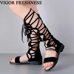 sandal knee 2019 - VIGOR FRESHNESS New Women Sandals Summer Boots Flat Heels Cross-tied Sandals Woman Shoes Gladiator Sexy Big Sizes 47 48